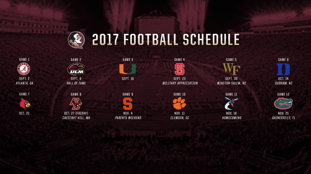 Gorgeous image with fsu football schedule printable